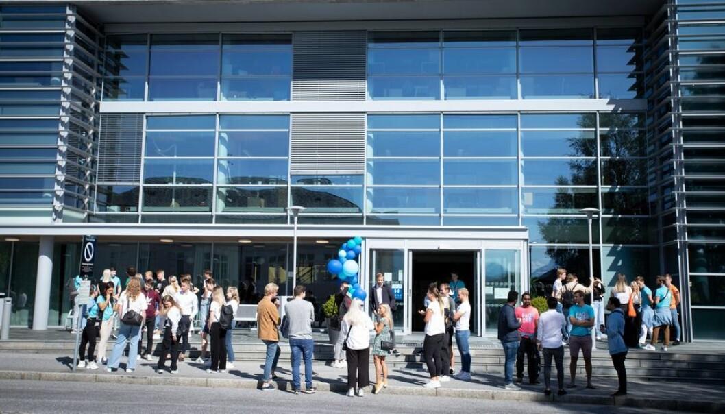 Blant studenter i høyere utdanning mener en stor andel at de hadde dårligere læringsutbytte som følge av korona (ill.foto fra studiestart ved NTNU campus Ålesund).