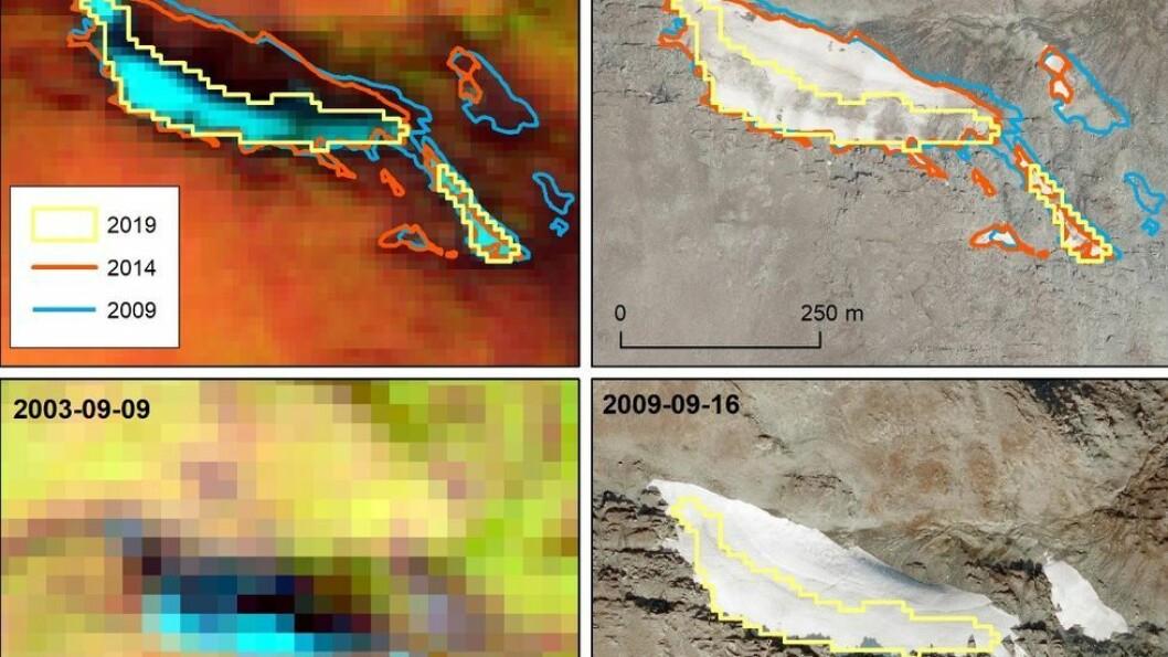 Snøfonner skiller seg fra isbreer ved at de ligger stille, mens isbreene er i stadig bevegelse. Med satellitt avdekkes formasjoner som ellers ikke kan observeres.