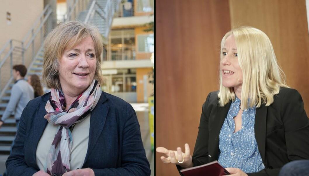 De har begge erfaring med å lede fagmiljøene i Ålesund. Får Annik Magerholm Fet (til venstre) fortsette, eller vender Marianne Synnes Emblemsvåg tilbake som viserektor?
