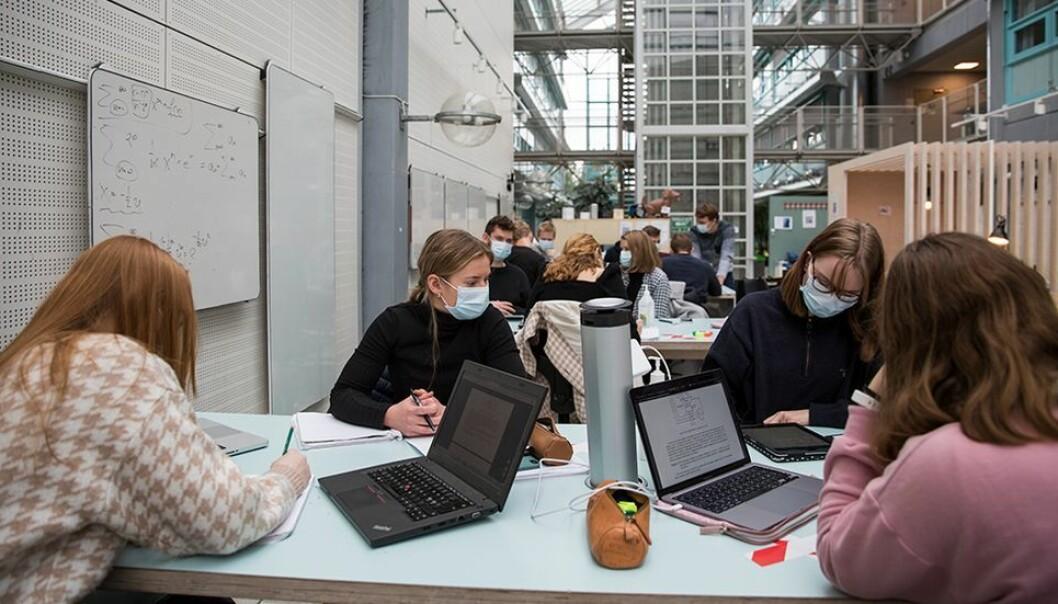 I november var studentene tilbake i Koopen i Elektrobygget på Gløshaugen, med munnbind på. Året har vært preget av mye frem og tilbake, spesielt for studentene.