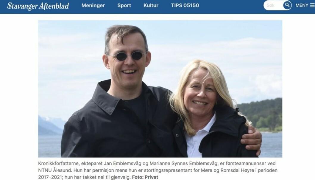 Som denne skjermdumpen fra Aftenbladet viser, presenteres kronikkforfatterne som førsteamanuenser ved NTNU.