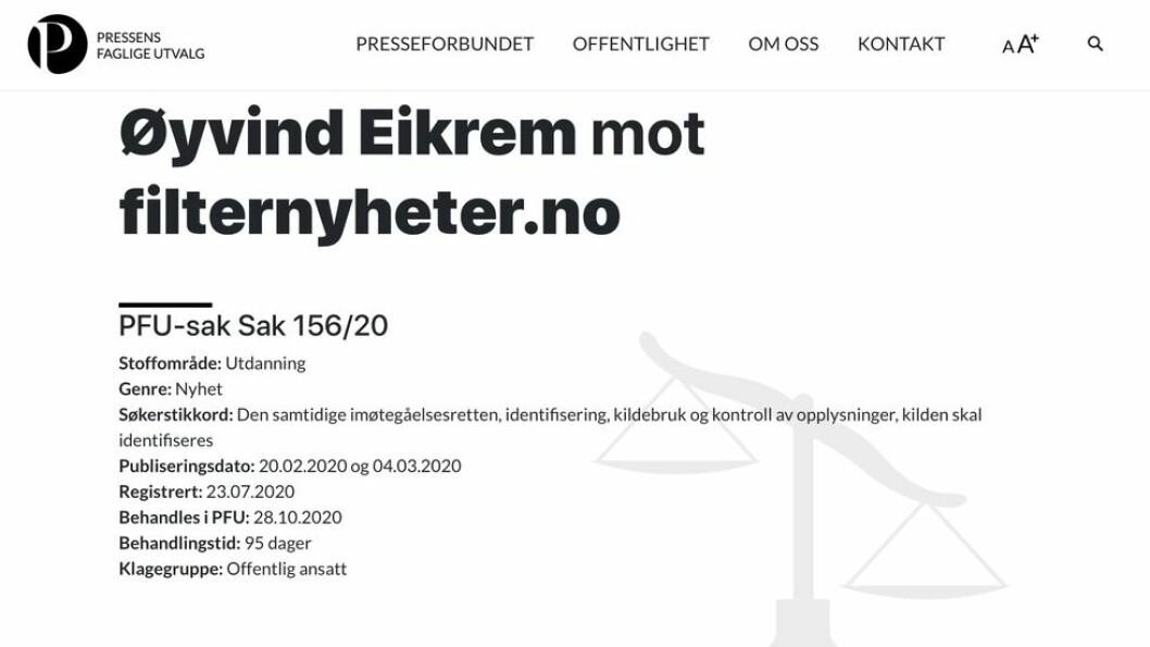 Eikrem mener avisa har brutt mot Vær Varsom-plakaten på 9 punkter. Filter Nyheter avviser samtlige.