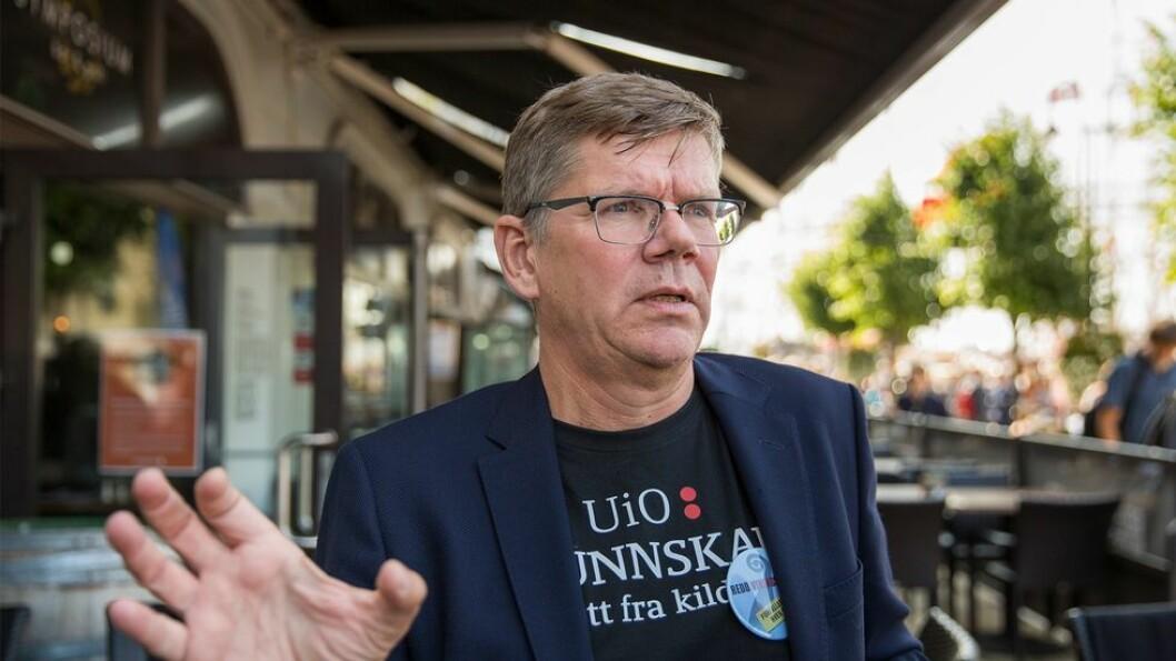 UiO-rektor Svein Stølen, her avbildet under Arendalsuka 2019, mener det er en motsetning mellom å på den ene siden få oppslutning om forskningens viktighet og på den andre siden sørge for at forskningen er bra nok.