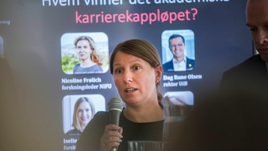 Guro Elisabeth Lind, leder for Forskerforbundet, er ikke fornøyd med resultatet, men mener det er akseptabelt. Bildet er tatt under Arendalsuka 2019.