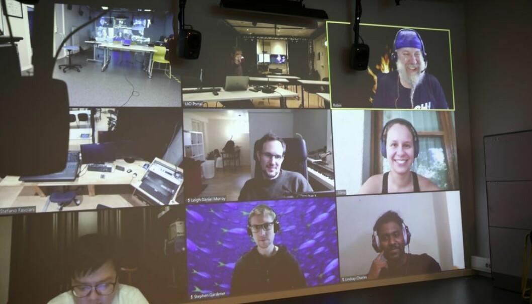 Digital undervisning blir fortsatt hovedordningen ved NTNU ved studiestart 2021. Bildet er fra en digital undervisningstime i MCT.