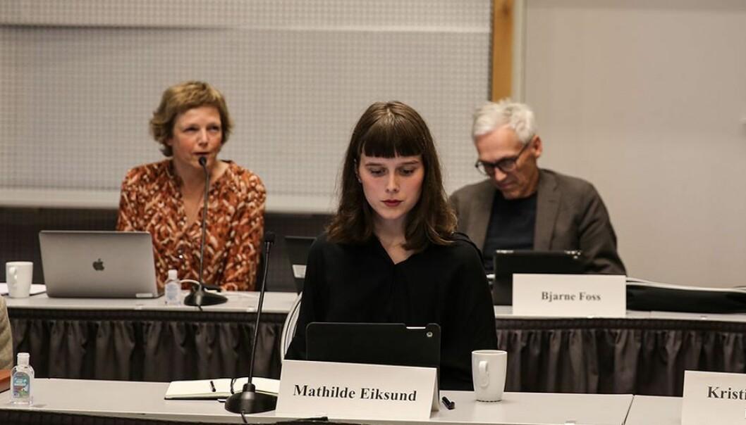 Studentrepresentant Mathilde Sjøhelle Eiksund under et styremøte i fjor.