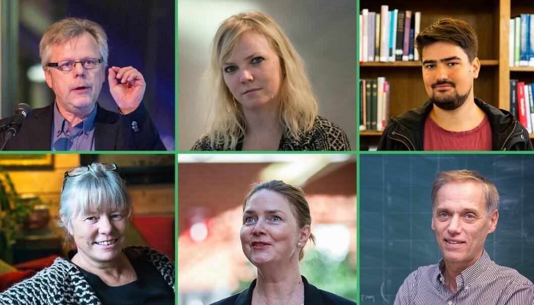 Våre skriveføre gjesteskribenter er (øverst fra venstre): Hans Petter Hildre, Eli Smeplass, Benedikt Erikstad Javorovic, Astrid Rønsen, Nora B. Kulset og Helge Holden.