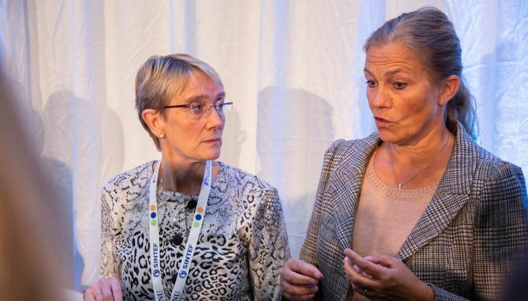 Av 22 nye SFI-er er NTNU og Sintef til sammen gitt ansvaeret for å lede ni. Det er NTNU-rektor Anne Borg og Sintefs konserndirektør Alexandra Bech Gjørv svært godt fornøyde med.