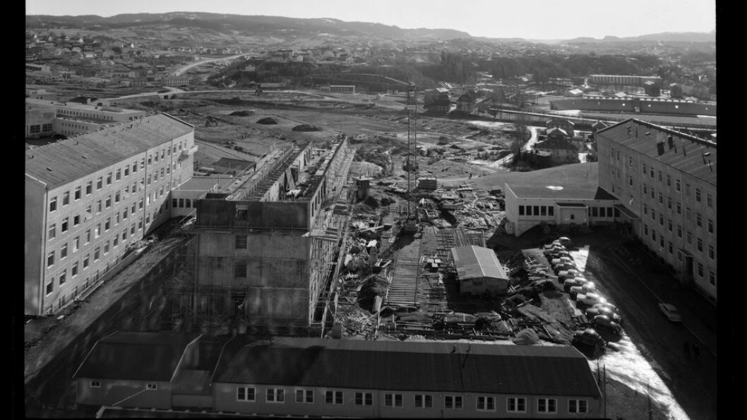 Omtrent 1400 bilder etter «hoff-fotograf» ved NTH i perioden 1960-1989, Nils Bjørnelv, er digitalisert. Dette bildet er tatt fra en av de øverste etasjene i Sentralblokk 1 våren 1964 og viser byggingen av Kjemiblokk 4 og utsikten mot sør slik den var før Realfagsbygget ble reist. Bildene fra Bjørnelvs samling blir publisert etter hvert som de blir registrert. Foreløpig er kun et fåtall tilgjengelig i gunnerus.no.