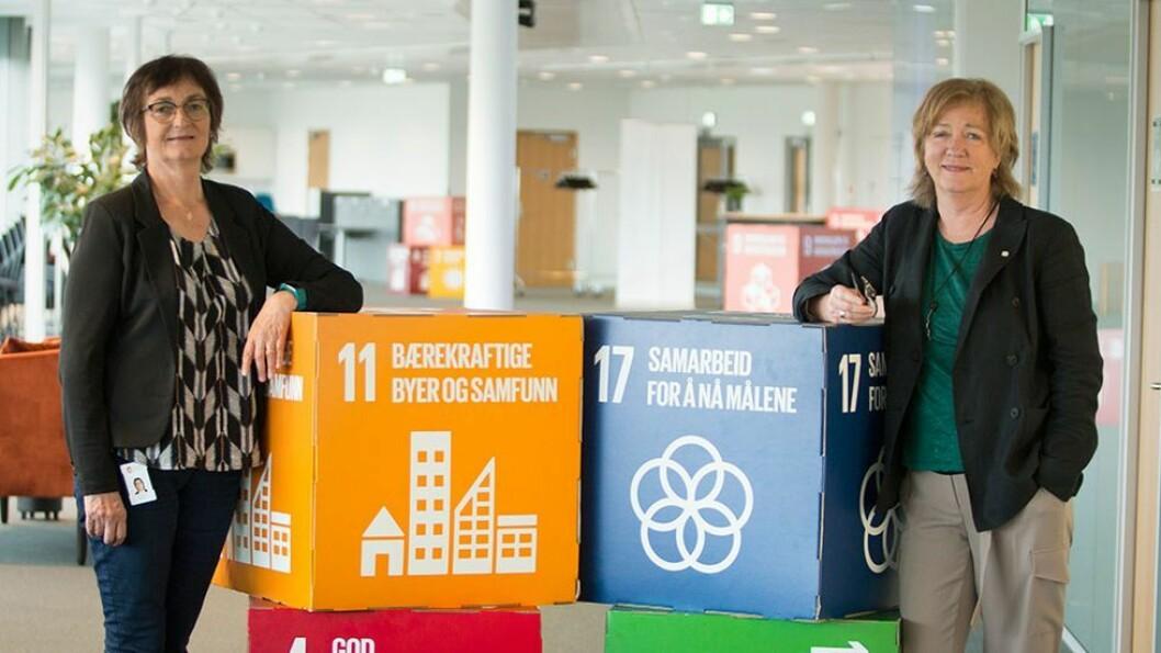 De skal samarbeide om smart helse og smarte og bærekraftige samfunn: Kommunedirektør Astrid J. Eidvik fra Ålesund kommune (til venstre) og viserektor Annik Magerholm Fet fra NTNU.