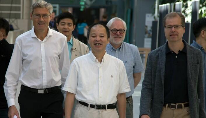 Kick off. Fra venstre Asle Sudbø, Hai-Qing Lin, Alex Hansen og Arne Brataas (sistnevnte leder for Quspin) under fagseminaret på NTNU.
