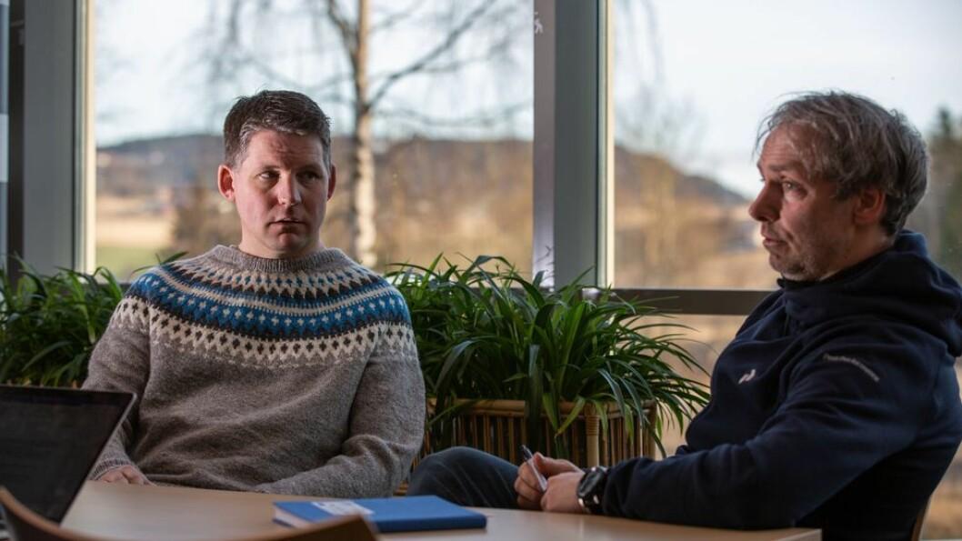 Ole Petter Vestheim og Tore Kristian Aune frykter for både egne og kollegers jobber når det skal nedbemannes ved Nord universitet.
