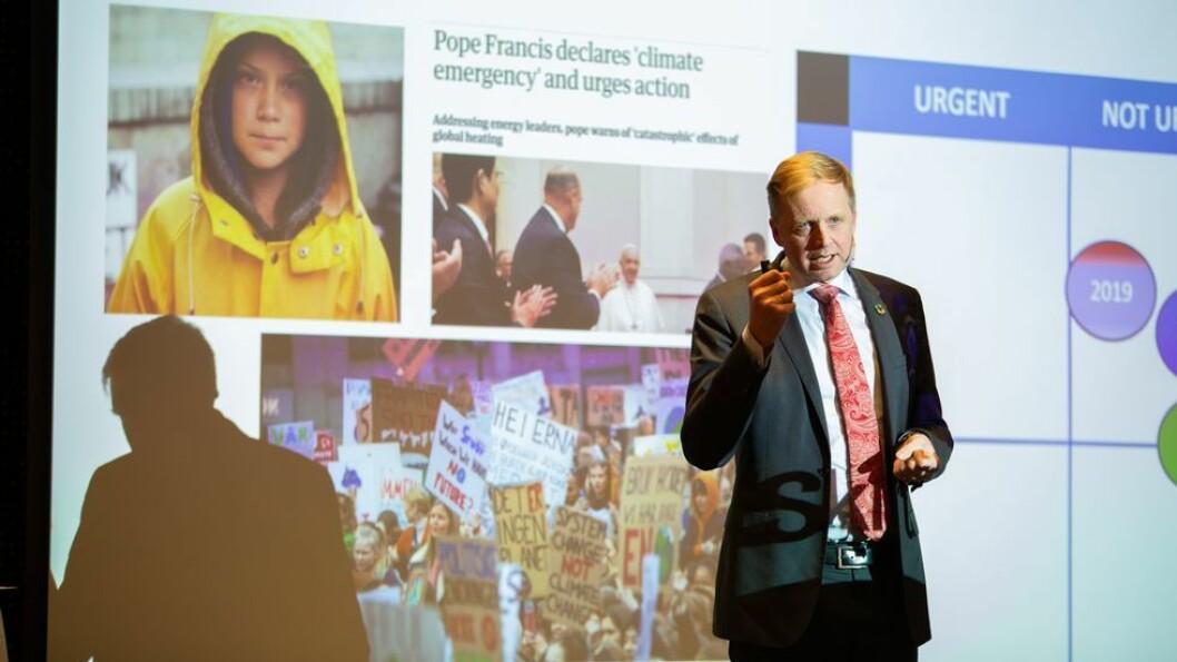 Bjørn K. Haugland ga NTNU en rekke utfordringer da han snakket om bærekraft for NTNUs ledere.