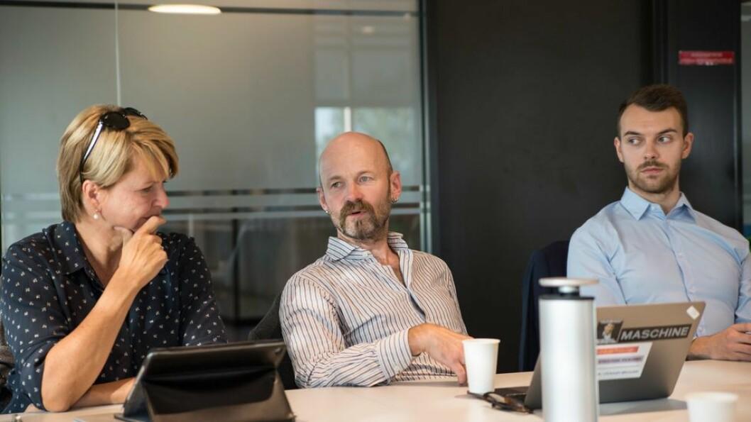 Ingen entusiasme fra de andre styremedlemmene om å diskutere valgt rektor i stedet for ansatt. Fra venstre: Nina Refseth, Aksel Tjora og Per Kristian Røkkum Berget.