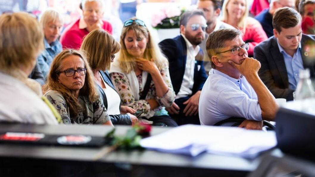 Dagen før Bovim varslet sin oppsigelse fulgte dekan Monica Rolfsen med på debattene om sektoren i Arendal, her avbildet sammen med UiO-rektor Svein Stølen. Nå kan de to bli rektorkolleger - for Rolfsen bekrefter at hun vil søke stillingen.