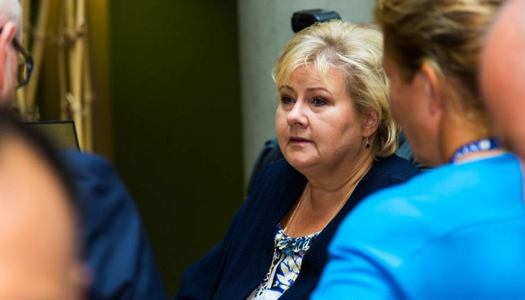 - Tallene demonstrerer med all tydelighet den lærermangelen norsk skole står i, sier Erna Solberg. Arkivfoto.