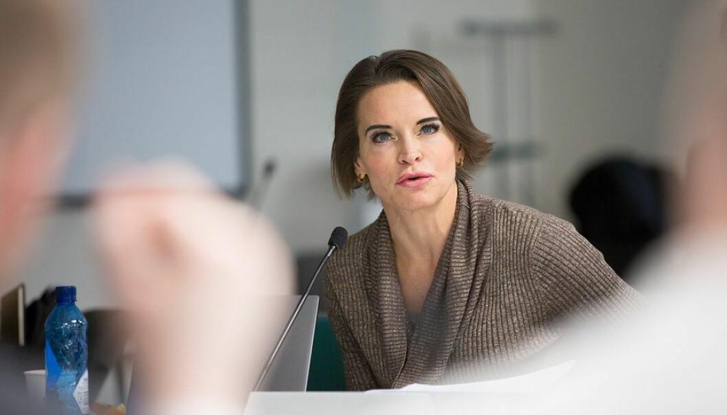 Maria Strömme skapte reaksjoner med sitt utspill om midlertidig ansettelse. Bildet er fra et tidligere møte, ettersom Strömme deltok digitalt.