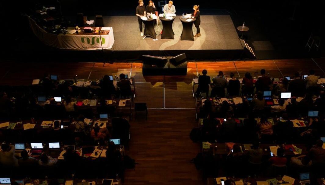 Tre kandidater kjemper om å bli ny NSO-leder. Bildet er tatt under lederdebatten på landsmøtet i 2018.