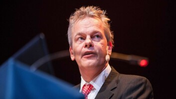 Edvard Moser in the Aula Medica at Karolinska Institutet, giving his lecture.