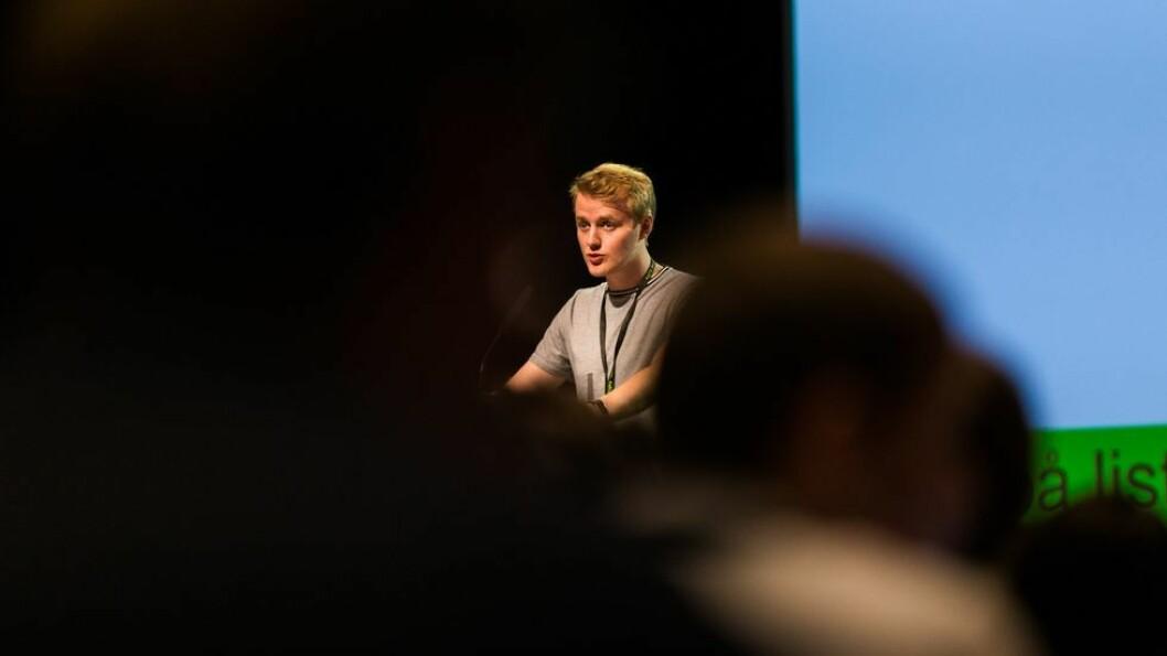Håkon Randgaard Mikalsen er leder for Norsk studentorganisasjon. Her avbildet under landsmøtet i april 2018.