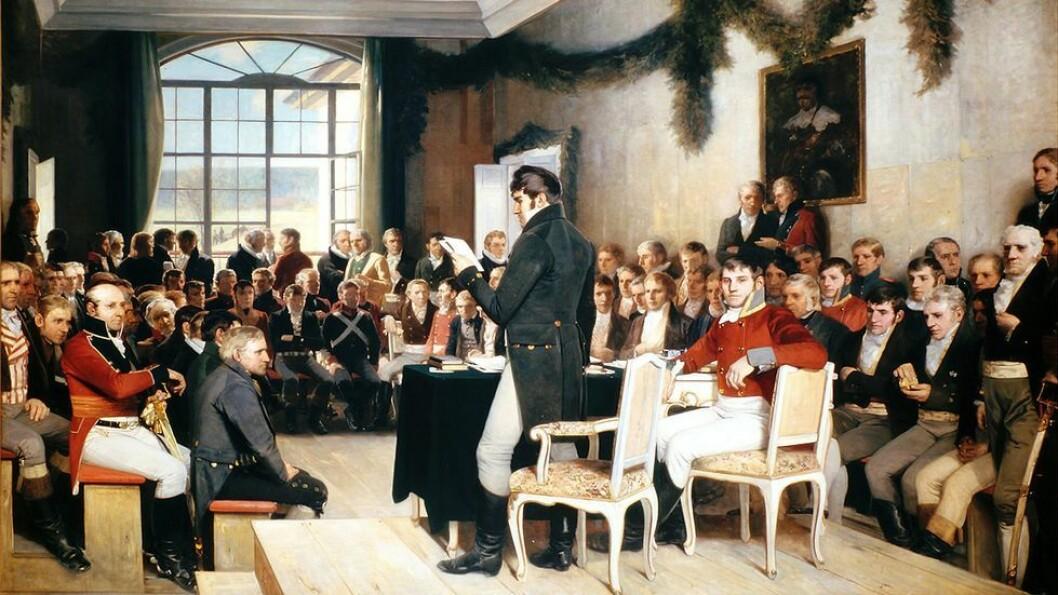 Kvinneandelen var laber da Norges grunnlov ble skrevet - en særs viktig historisk begivenhet, og NTNUs Institutt for historie har valgt dette maleriet for å illustrere egen virksomhet på hjemmesiden sin. Kvinneandelen er ikke god på instituttet heller, men hakket bedre enn på Eidsvoll. Maleri: Oscar Arnold Wergeland
