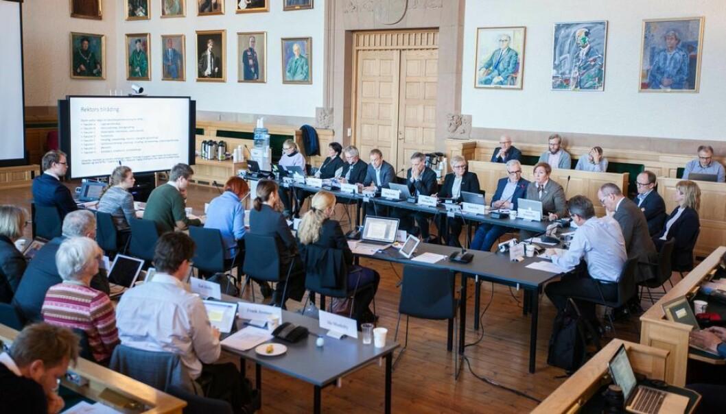 Det er vedtatt omvalg for kandidater til NTNU-styret fra de midlertidig ansatte. Bildet er fra et styremøte i 2016.