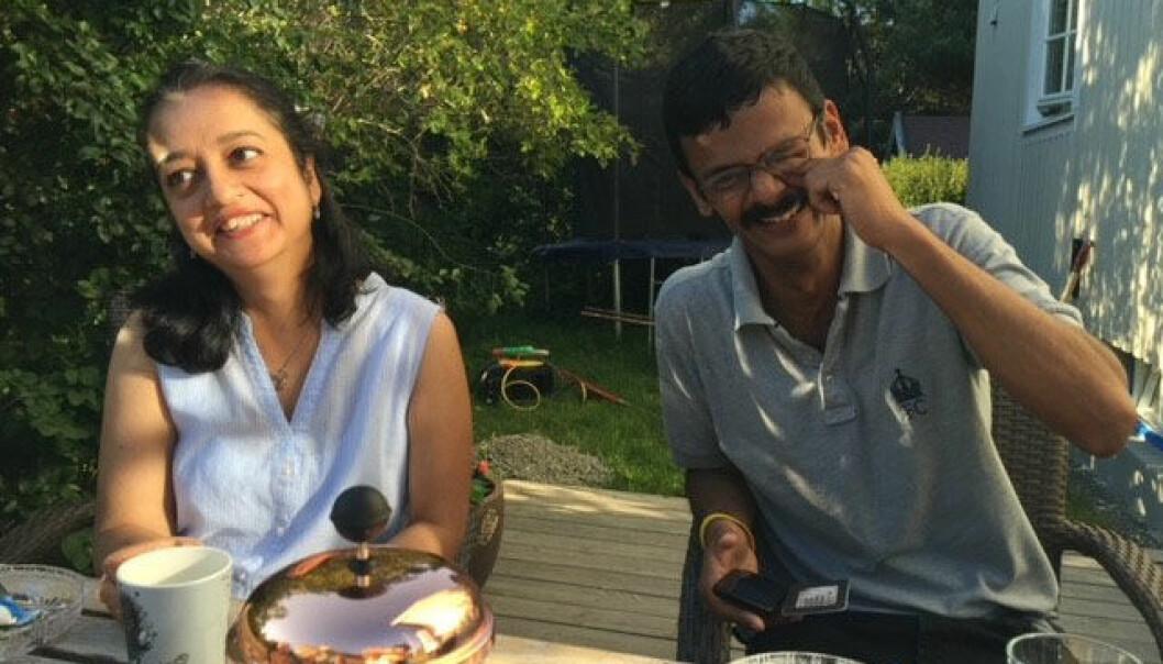 Ei lykkelig stund sammen: Varshita og Venkatesh