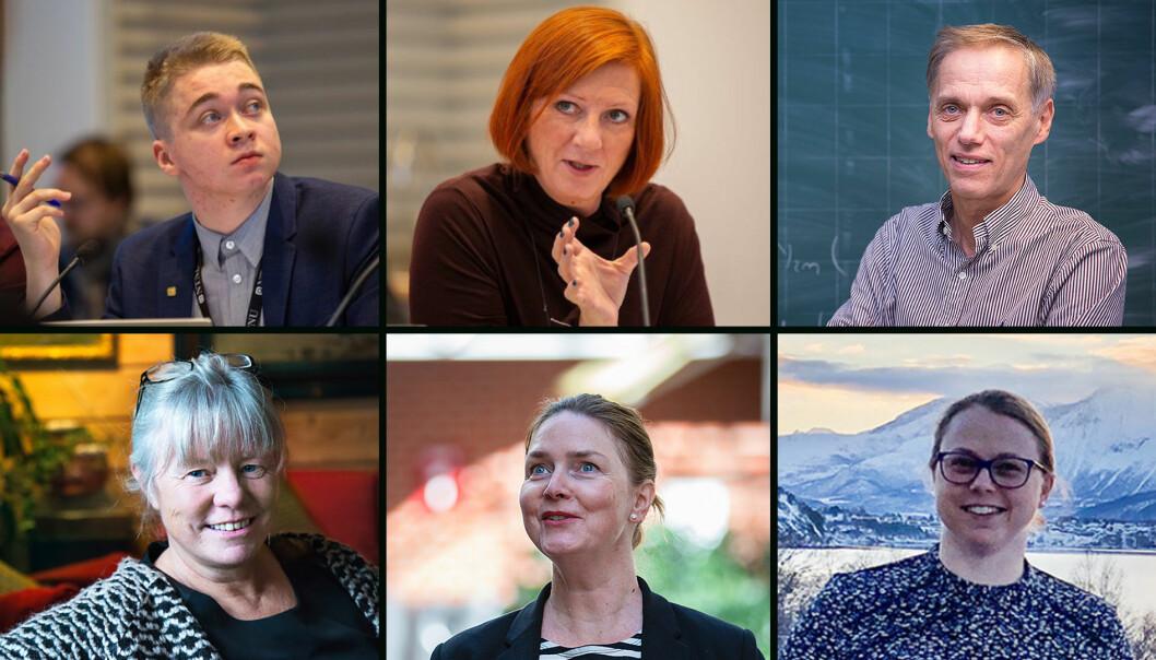 Fra venstre øverst: Adrian Heyerdahl, Kjersti Møller og Helge Holden. Fra venstre nederst: Astrid Rønsen, Nora Bilalovic Kulset og Ann-Kristin Tveten.