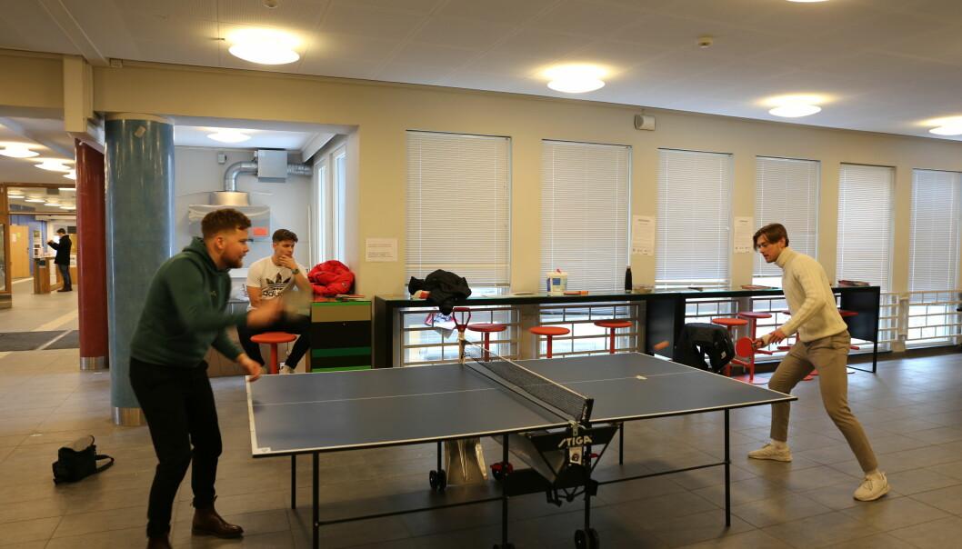 De spiller bordtennis hver dag. Fra venstre: Jørgen Pedersen, Marius Eriksen og Mathias Trondal liker at det er litt konkurranse i hverdagen.