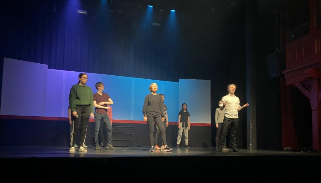 Sigrid Festøy (I forgrunnen, fra venstre) , Asgeir Mehl Santi , Hedda Mathilde Langvik og Christian Ziegenhahn Jensen under teknisk prøve tirsdag 2. mars.