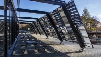Dette er bare noen av solcellepanelene som genererer elektrisitet for det nye bygget.