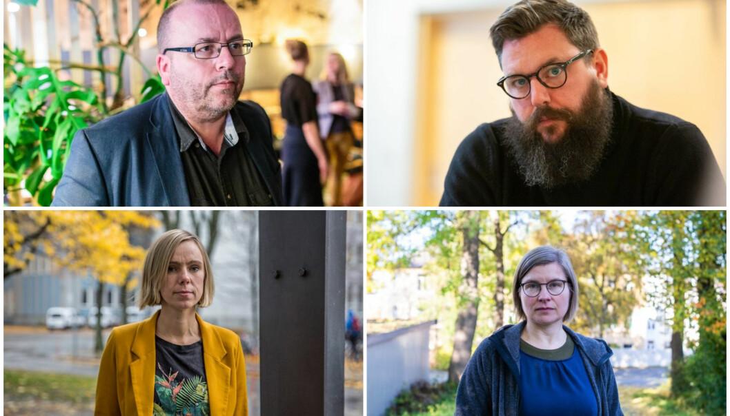 Fire kandidater blant en rekke spennende navn. Fra venstre øverst: Arve Hjelseth, Michael F. Duch, Brita Fladvad Nielsen og Nina Lager Vestberg.