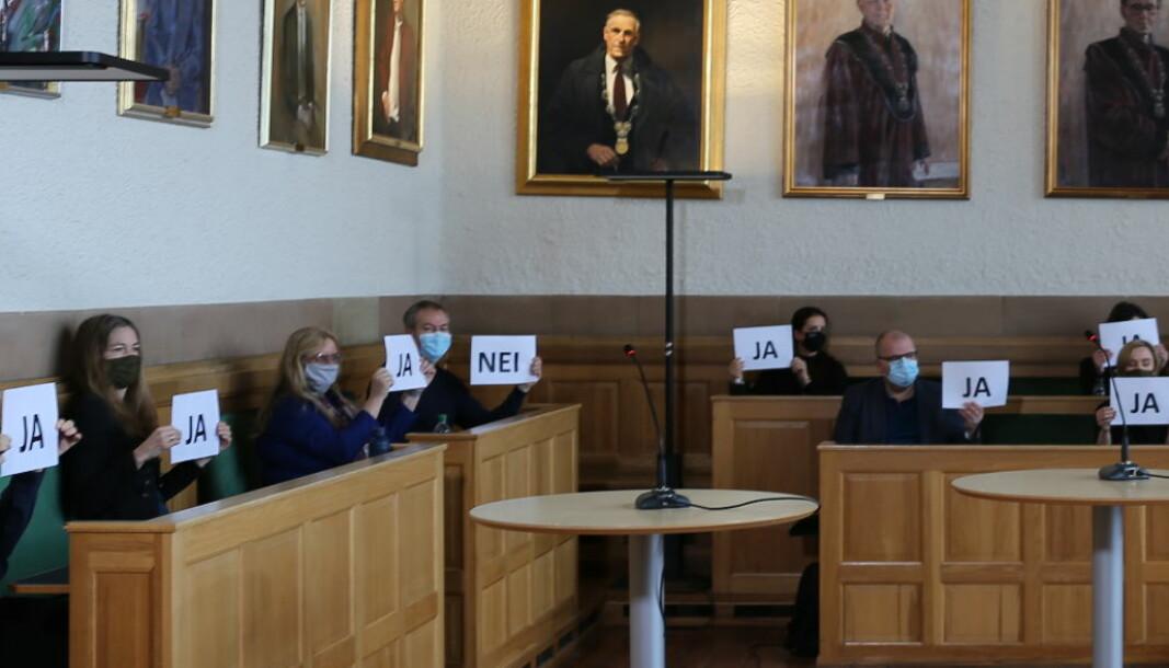Spørsmålet kandidatene ble stilt var: Er NTNU for toppstyrt? Ingrid Bouwer Utne sees bak grønt munnbind til venstre, svarer ja. Bjørn Skallerud er den eneste på bildet som holder opp et NEI.