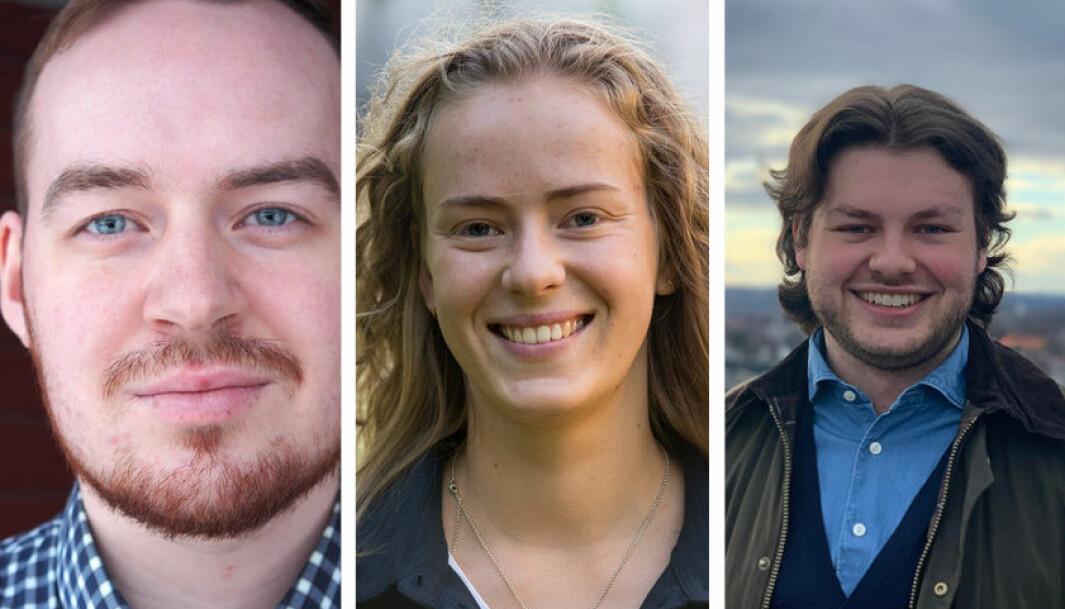 Dette er kandidatene som stiller til valg som leder av NSOs arbeidstvalg i april. Fra venstre: Daniel Hansen Masvik, Tuva Todnem Lund og Jonas Økland.