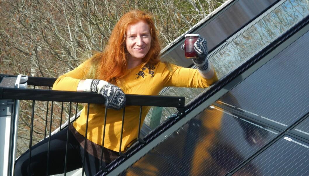 Med hjemmelagde votter og syltetøy, står Ida Fuchs foran sitt eget solcelleanlegg, som produserer hjemmelaget strøm.