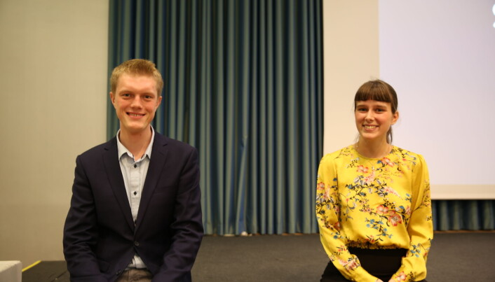 Leder for studentenes valgstyre Simen Ringdahl mener resultatet fra valget står seg på tross av problemer. Her avbildet med med-representant for studentene på NTNU-styret, Mathilde Eiksund.