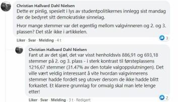 Deler av valgstyret sitter også i Studenttinget, innlegget Dahl Nielsen henviser til var et innlegg i debatten om studentprester signert Studenttingets medlemmer.