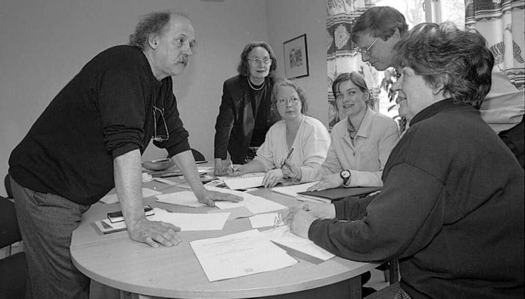 Bruno Oldani til venstre. Bildet er fra arbeidet med NTNUs profilmanual.