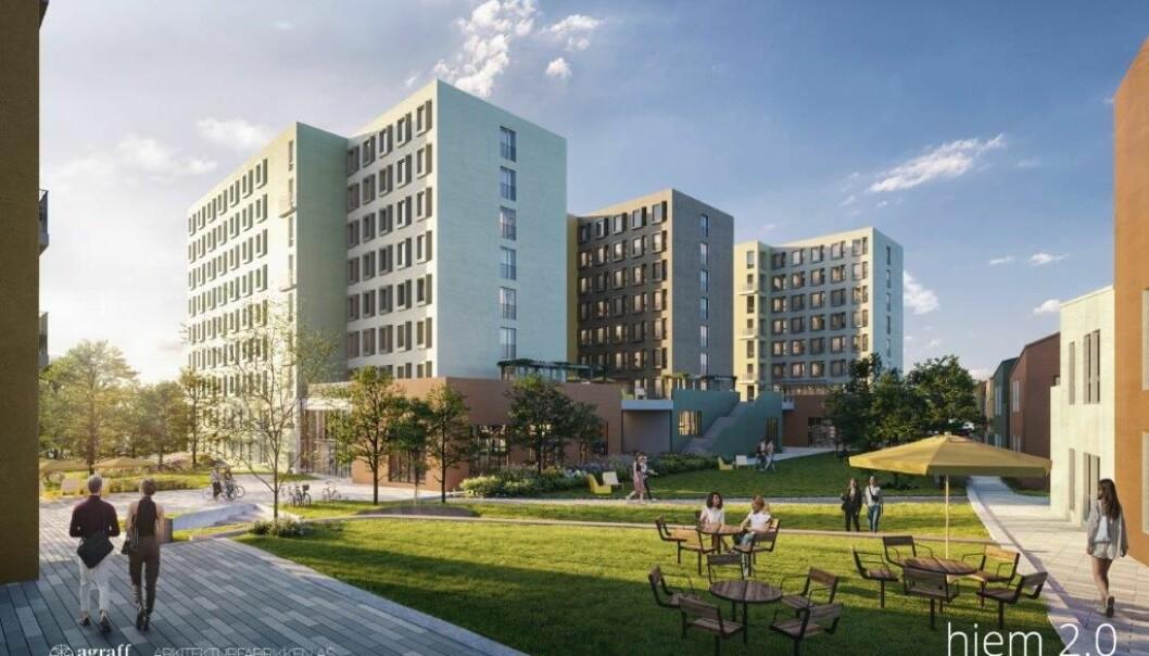 Mellom lave og høye bygg er det planlagt store fellesarealer.