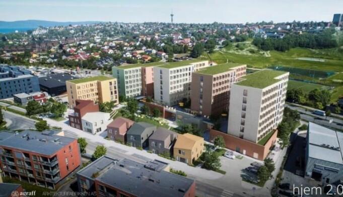 De nye høyblokkene vil ha utsikt mot Nissekollen, hjemmebanen til Nardo FK.