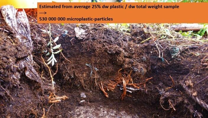 Konsekvenser av plast i jord når det fragmenteres til mikroplast.