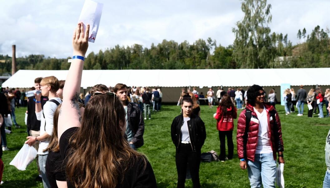 Det var ikke det største skiltet de hadde å navigere etter studentene som skulle finne sine respektive faddergrupper, men til slutt var alle samlet.