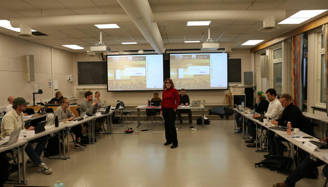 Internasjonalt ansvarlig Anna Juell Johnsen ved Studenttinget presenterte den nye plattformen.