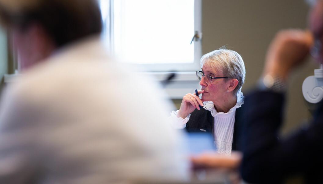 NTNU-rektor Anne Borg, her under et styremøte i september, uttrykker misnøye med at det tas midler fra Norges Forskningsråd for å finansiere opptrappingen i Langtidsplan for forskning og høyere utdanning.