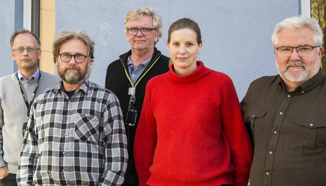 Ønsker kursendring. Fra venstre: Øystein Moen i Tekna, Morten Mørch i Parat, Morten Kvamme, NITO, Marte Villmo i Forskerforbundet og Sturla Søpstad i NTL.