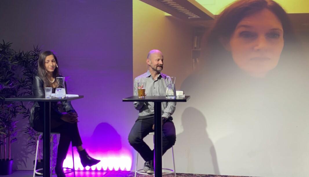 Thorbjørnsrud måtte delta på link under torsdagens møte, i panel sammen med Saira Basit og Aksel Tjora. Debatten ble ledet av Morgenbladets Thea Storøy Elnan.