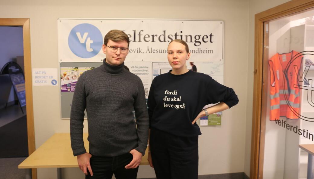Når Sit blir stående igjen med regninga, er det også studentene som blir stående med regninga, sier nestleder og leder i Velferdstinget, Svein-Erik Olsen og Ellinor Lindström.